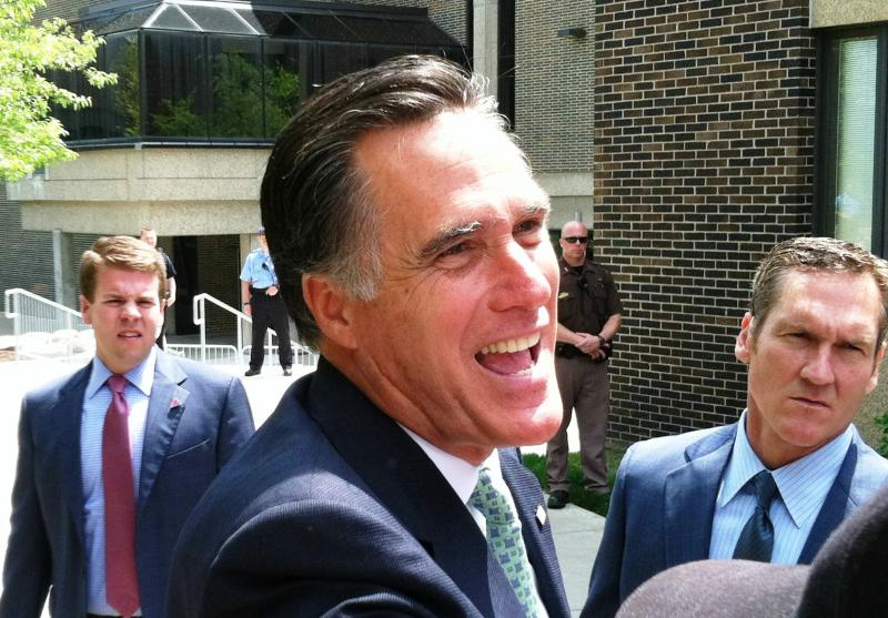 Republican presidential hopeful Mitt Romney at Lansing Community College today.