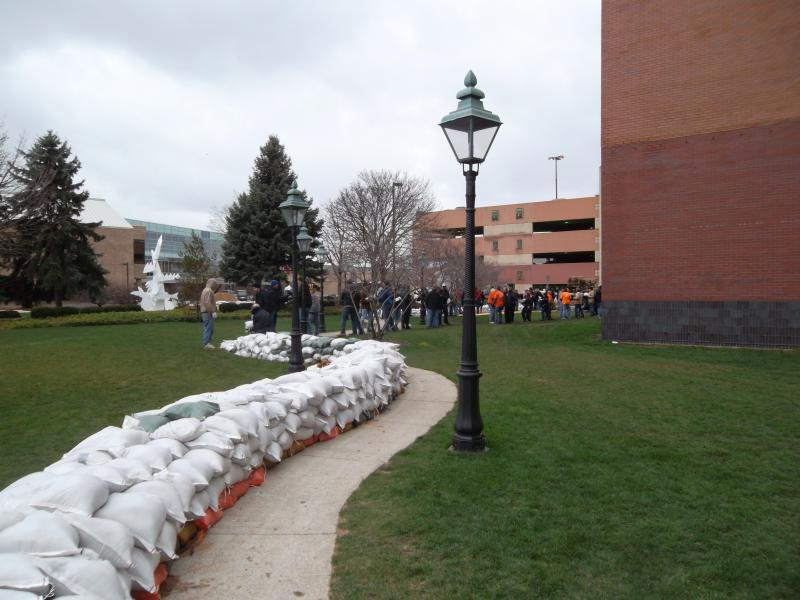 Sandbags line the back of the Grand Rapids Public Museum (pictured Friday, April 19th).