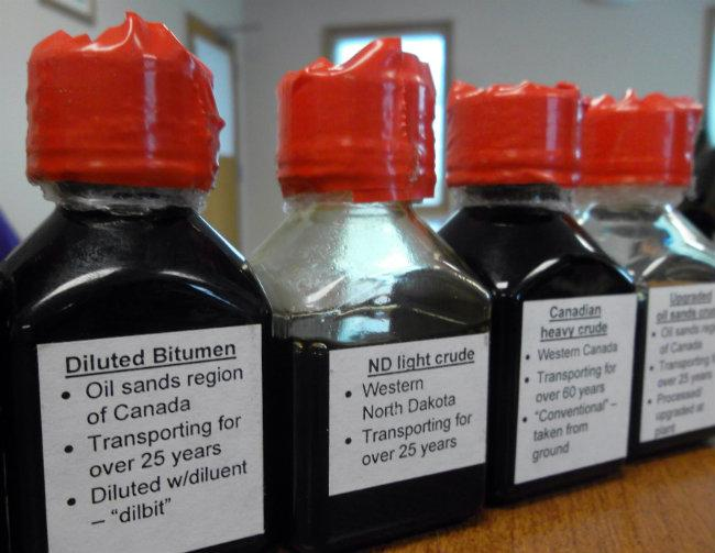 Samples of different kinds of crude oil that could be shipped through Enbridge pipelines.