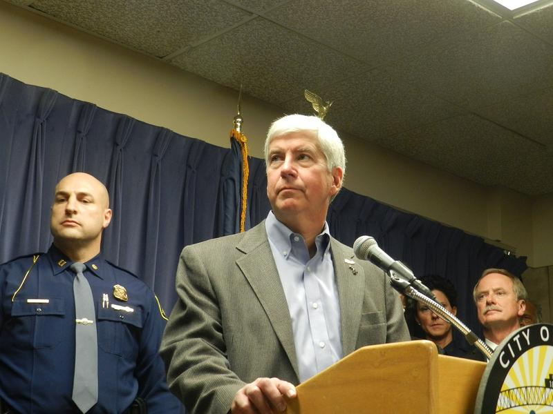 Gov. Snyder at a Flint water press conference in January.