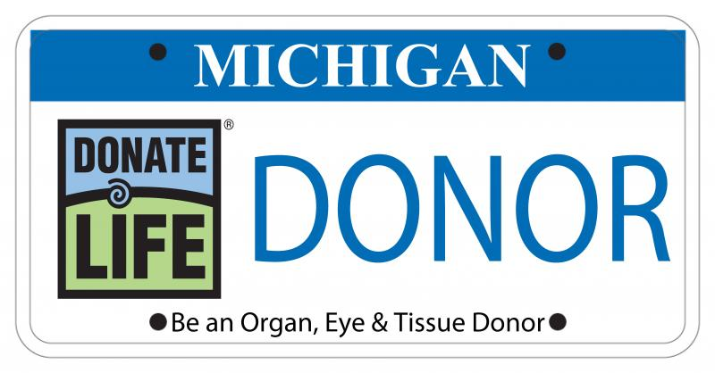 This is a draft version of the new organ donor registry license plate.