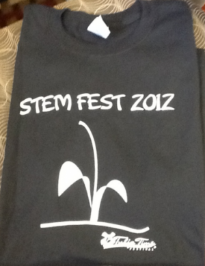 "Tulip Time Festival made about 300 ""Stemfest 2012"" t-shirts. Auwerda says they've struggled to keep up with demand and have reordered the shirts."