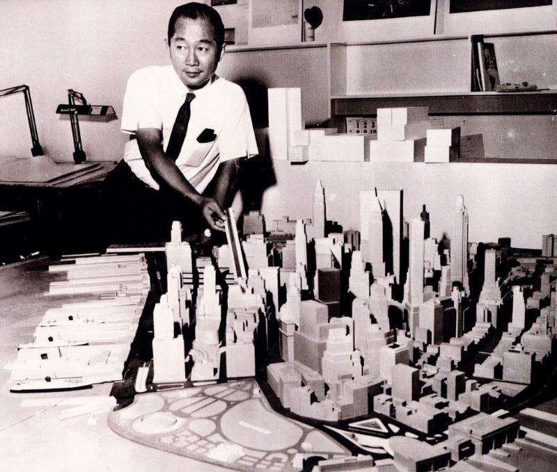 Minoru Yamasaki with a model of Manhattan and the WTC buildings.