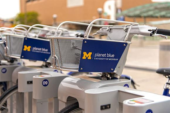 Closeup of the bike stations.