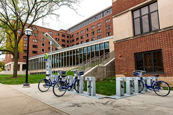 The bikes behind the LS&A building on central campus.