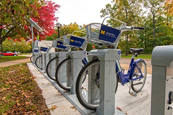 The bikes on UM central campus.