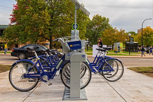 The bikes in the bike share program in Ann Arbor.