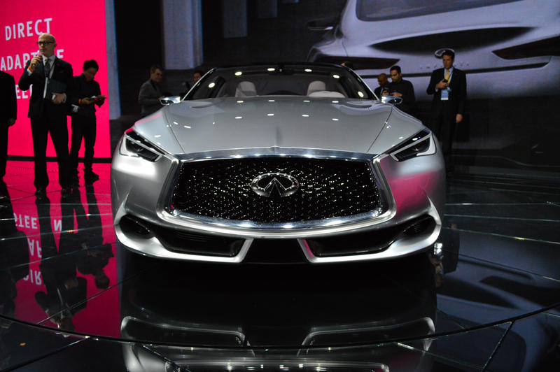 The Infiniti Q60 concept car has 3.0 liter twin-turbocharged V6 engine.