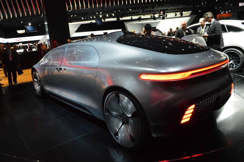 The F015 concept car is about 17 feet long, and 5 feet tall.