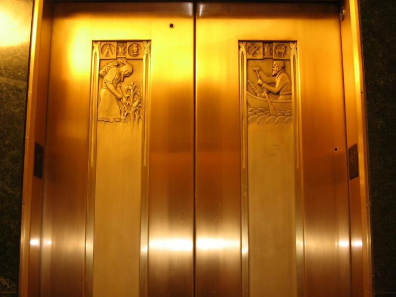 Elevator doors in the Heritage Tower