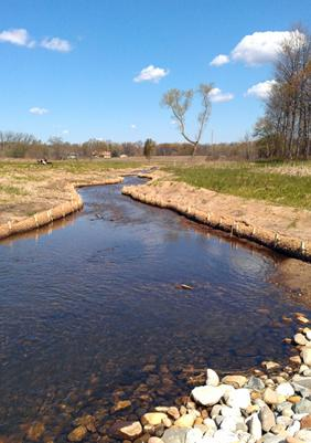This is a stretch of Talmadge Creek that's about a half mile downstream from where the Enbridge Energy pipeline ruptured in 2010. Enbridge diverted the creek, excavated the contaminated creek bed, and reconstructed the creek.