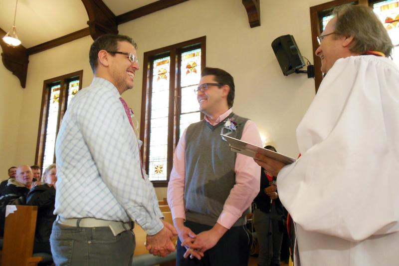 Jere Clausen and Bruce Walters prepare to be the first same-sex couple to be wed in Muskegon Saturday morning.