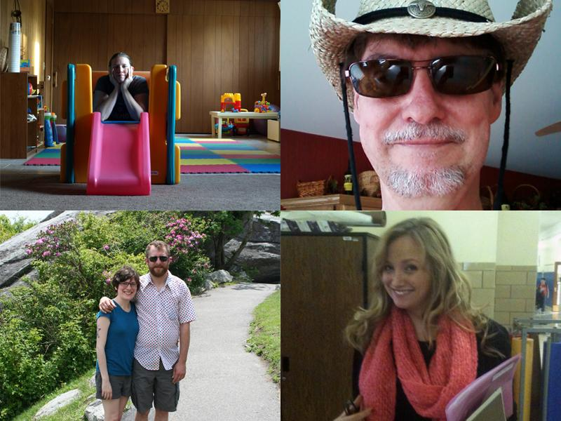Clockwise from top left: Ella Bensen, Duane Larkin, Erika Wozniak, and Shawn Brandli with his fiancee