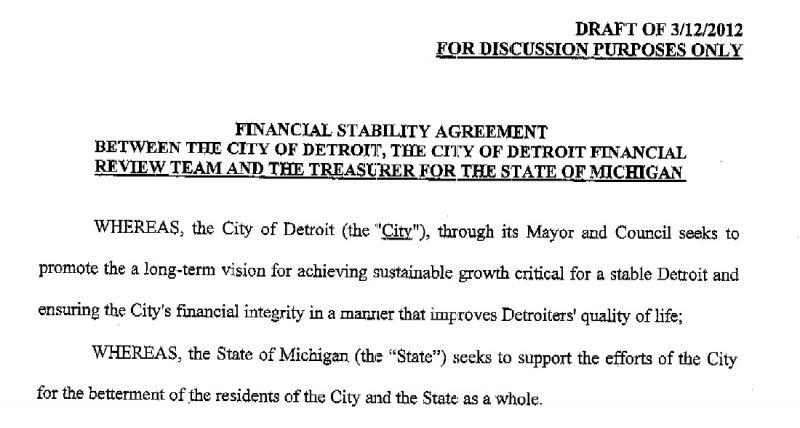 Part of the draft consent agreement obtained by the Detroit News.