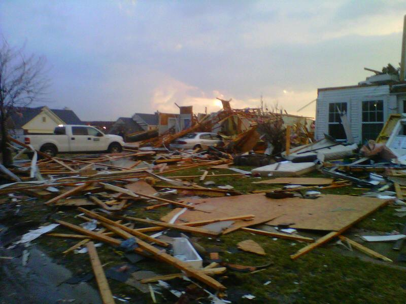 Photo of tornado damage near Dexter.
