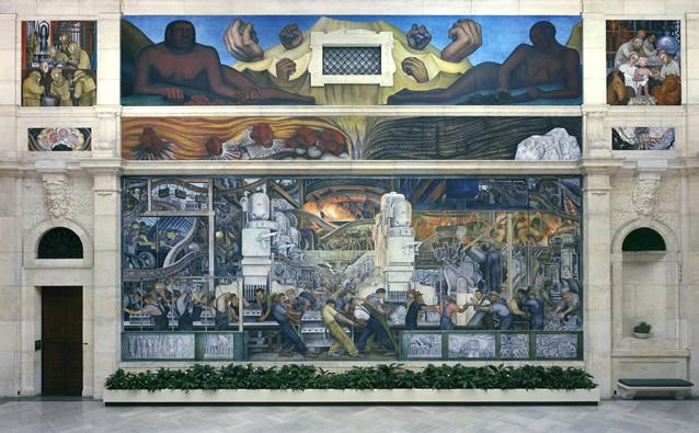 "Part of the Diego Rivera mural ""Detroit Industry"" at the Detroit Institute of Arts."