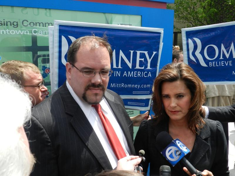 Senate Democratic Leader Gretchen Whitmer (right) and Flint State Representative Jim Ananich talk to reporters after Mitt Romney's speech in Lansing