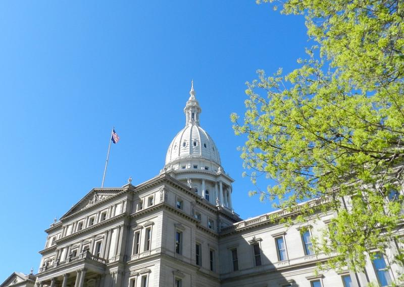 A view of the state capitol building in Lansing, Michigan