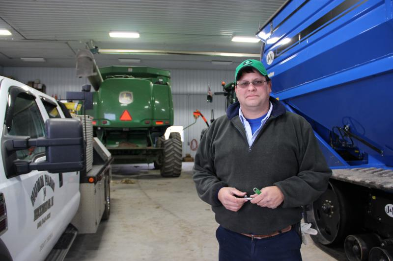 He's a fifth generation farmer. He raises corn, soybeans, wheat, and now wind.