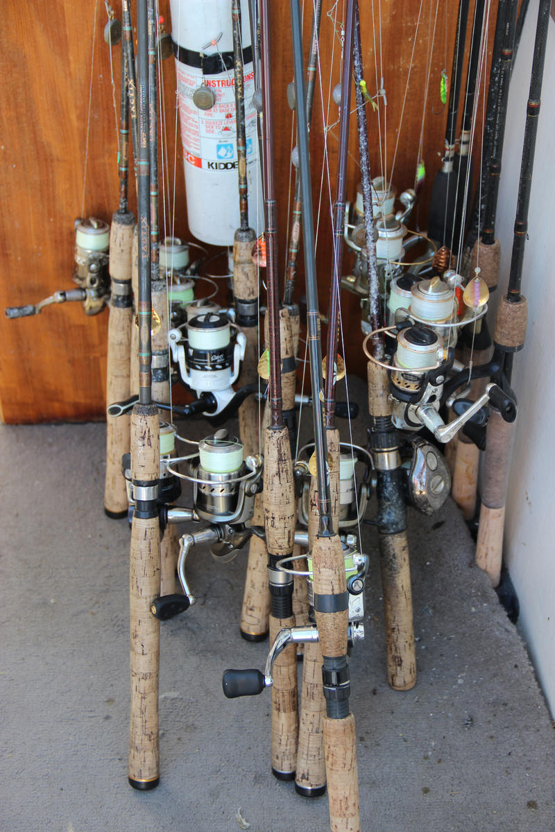 Rods and reels on Captain Paul's boat.