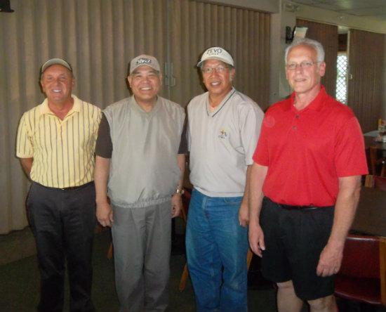 From left to right Ford retirees Larry Mcknee, Robert Matsui, Allan Yee, and Bill Reckinger meet up Friday afternoons for golf.