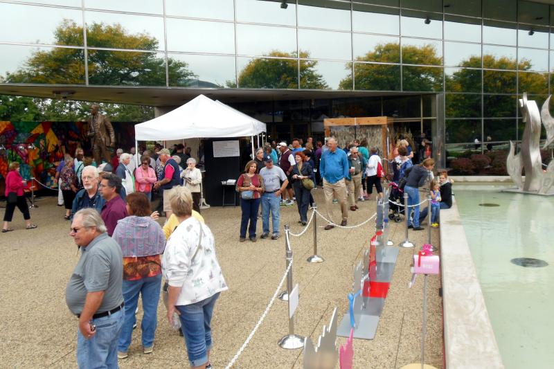 ArtPrize exhibits that were located inside of the Ford Museum were moved outdoors.