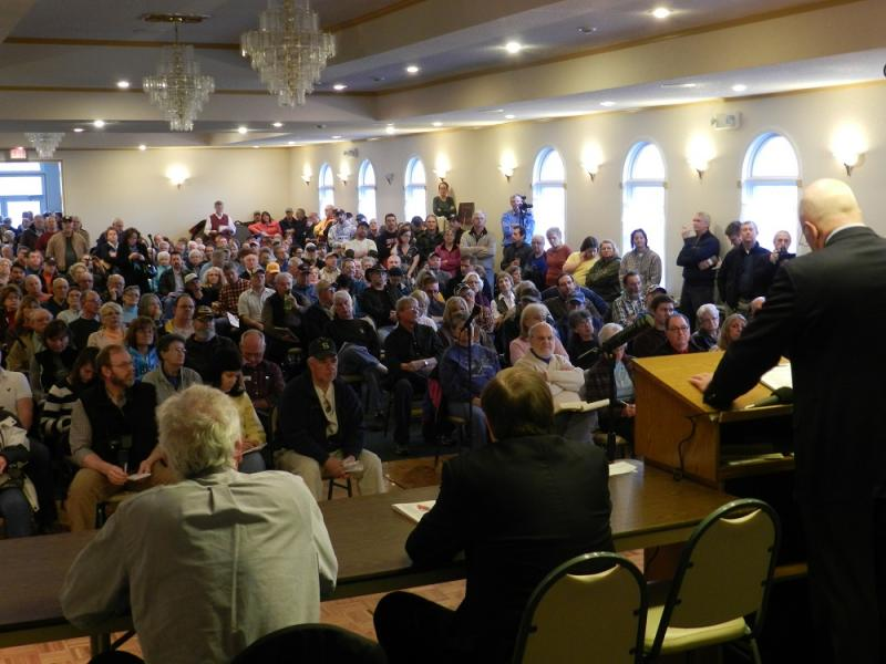 Hundreds of people jammed into a hotel banquet room in Brooklyn, Michigan to get answers about oil drilling in the Irish Hills