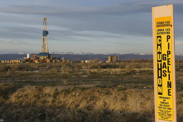 A gas drilling rig in Wyoming.