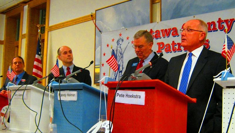 Several GOP candidates debated in Zeeland, Michigan in January 2012.