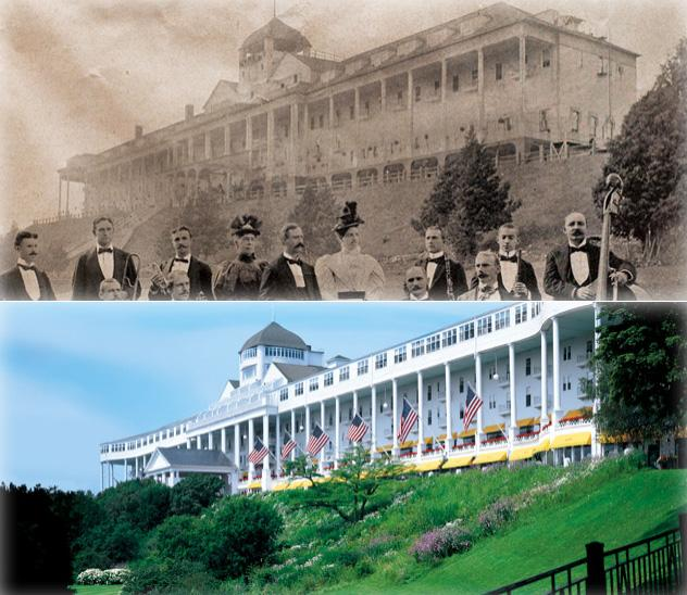 The Grand Hotel on Mackinac Island, before and after.
