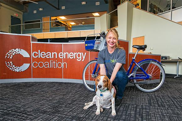 "Heather Seyfarth and ""Cooper"" at the Clean Energy Coalition in Ann Arbor."