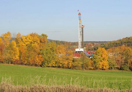 A gas drilling rig in Appalachia.