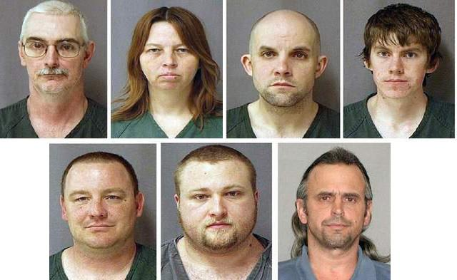 Seven on trial: top left, David Stone Sr. of Clayton, MI; Tina Stone of Clayton, MI; Jacob Ward of Huron, OH; David Stone Jr. of Adrian, MI. Bottom left, Michael Meeks of Manchester, MI,; Kristopher Sickles of Sandusky, OH; Thomas Piatek of Whiting, IN.