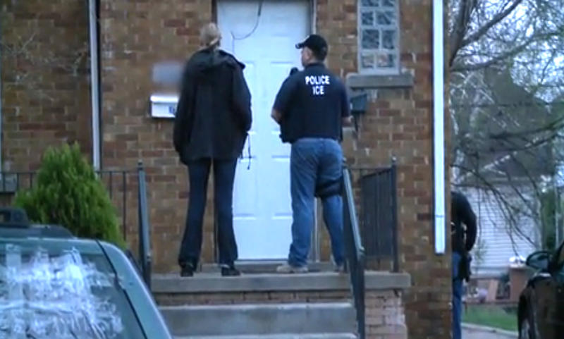 U.S. Immigration and Customs Enforcement agents making arrest in Dearborn.