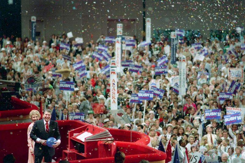 Ronald and Nancy Reagan at the 1988 Republican convention in New Orleans