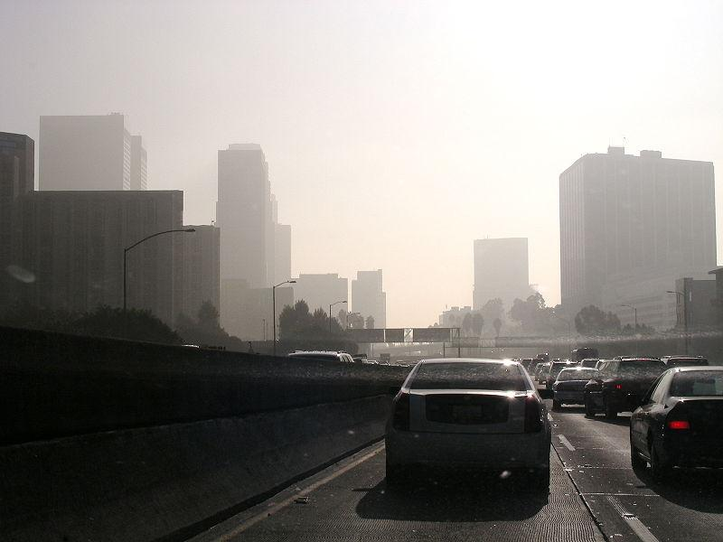 Air pollution around a highway in downtown Los Angeles