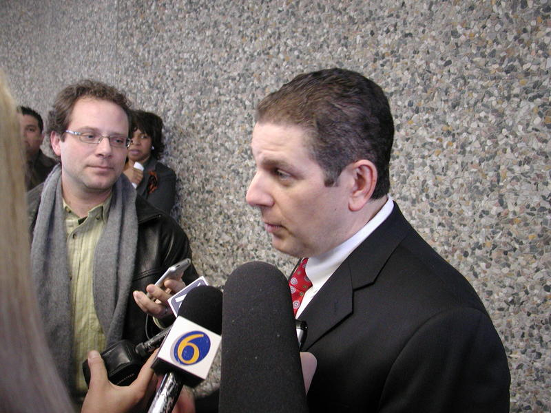 Virg Bernero talking to the media