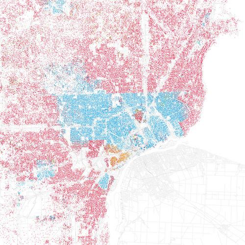 A color-coded map of racial integration in Detroit.