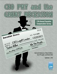 Cover of the report Executive Excess 2010: CEO Pay and the Great Recession