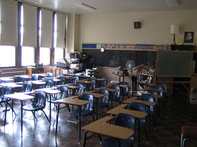 Empty classroom at Detroit Redeemer High School