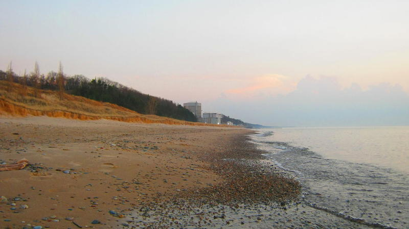 A view of the Palisades Nuclear Power Plant from the beach at Van Buren State Park.