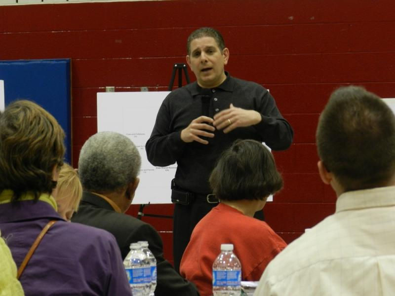 Lansing Mayor Virg Bernero speaks at a public forum on his FY 2013 budget plan