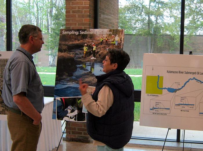 People had a chance to ask representatives from at least a dozen government agencies and other groups about the oil spill. The meeting was Tuesday night at Marshall High School.