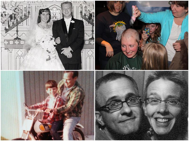 Clockwise from top left: Carol and Loren Schultz, Karrie Martin, Amy Lobsiger with her partner Dan Sicko, Jason Ratliff with his father