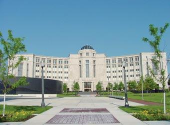 The Michigan Hall of Justice, home to Michigan's Supreme Court.