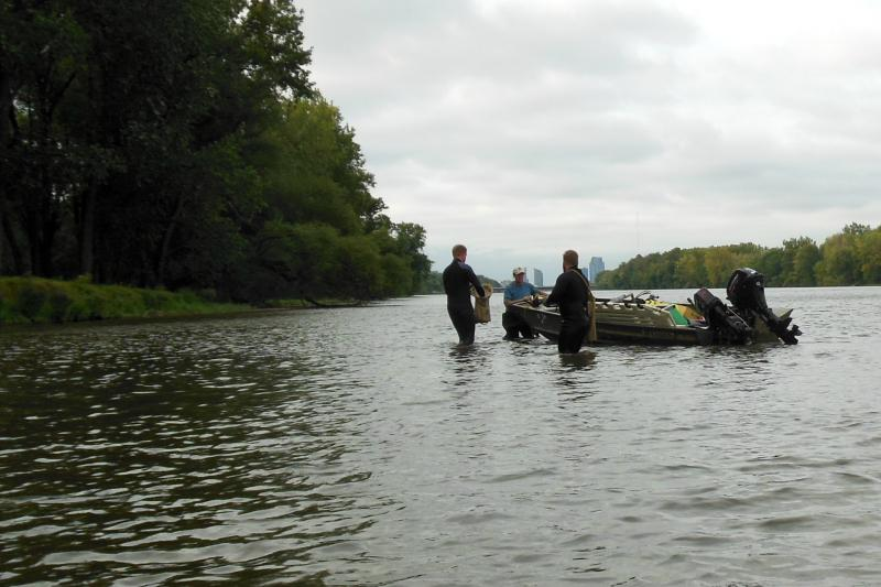 Dunn's crew spent 17 days surveying the Grand River near Grand Rapids.