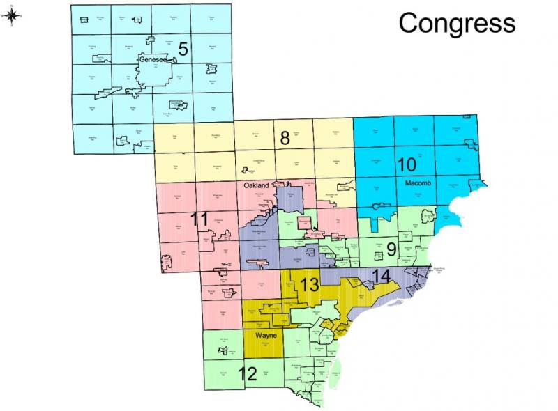New congressional district maps close up of southeast Michigan.