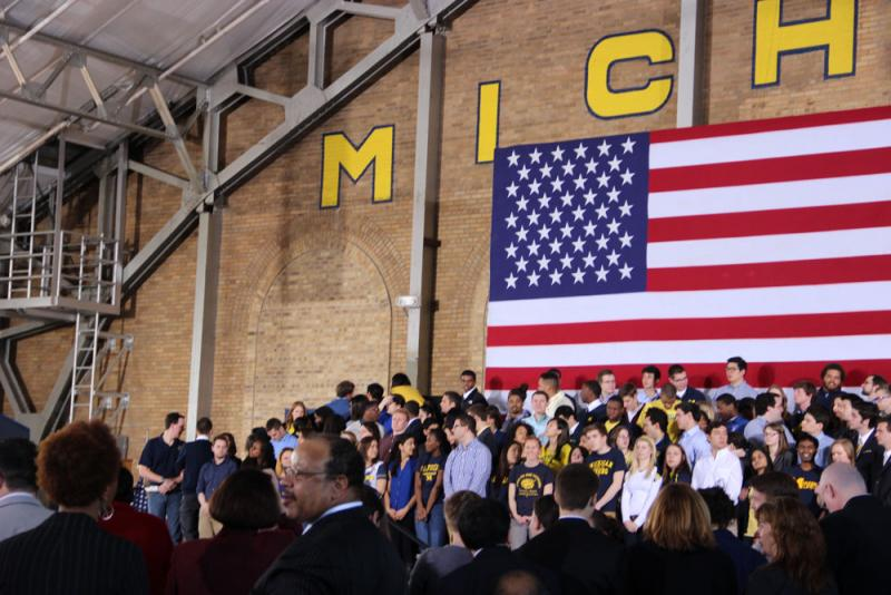 The backdrop of the president's speech inside the University of Michigan Intramural Sports Building.