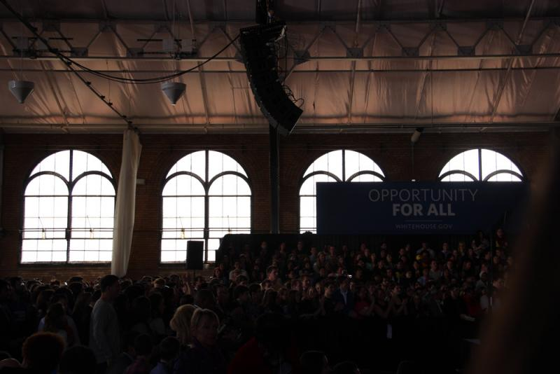 Inside the Intramural Sports Building during President Obama's speech.