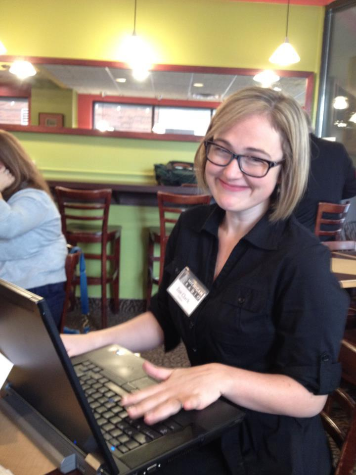 Producer Zoe Clark this morning at Biggby in Lansing.